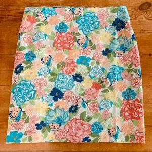 Talbots A-Line Floral Garden Skirt Stretch SZ 16
